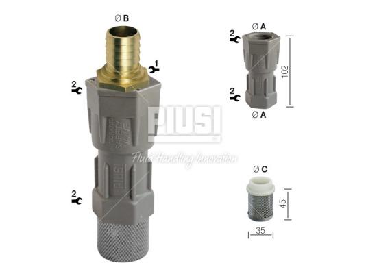 Донный фильтр очистки дизельного топлива PIUSI Foot valve Ø 25 mm